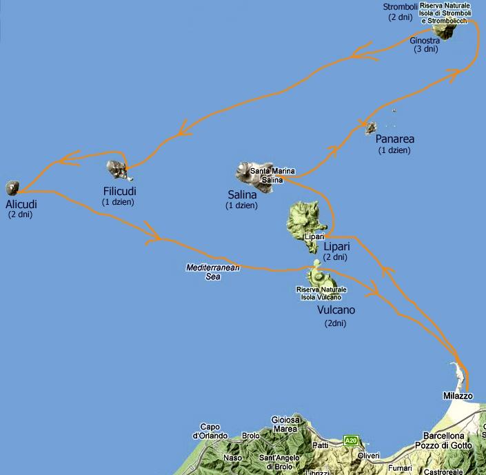 mapka mojej podróży na Wyspy Eolskie